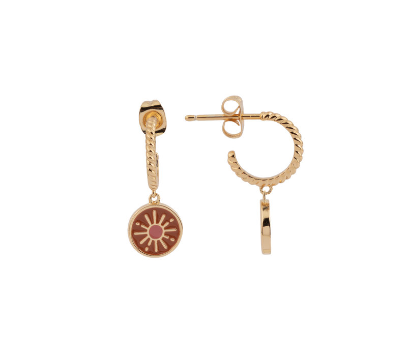 Vivid Goldplated Earring Coin Burst Orange Pink