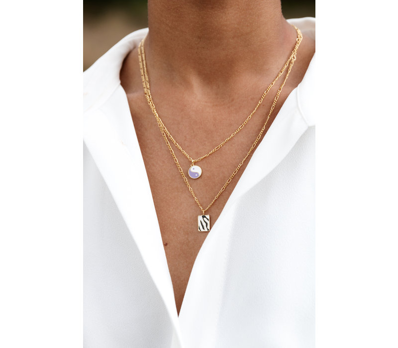 Vivid Goldplated Necklace Rectangle Zebra Black White