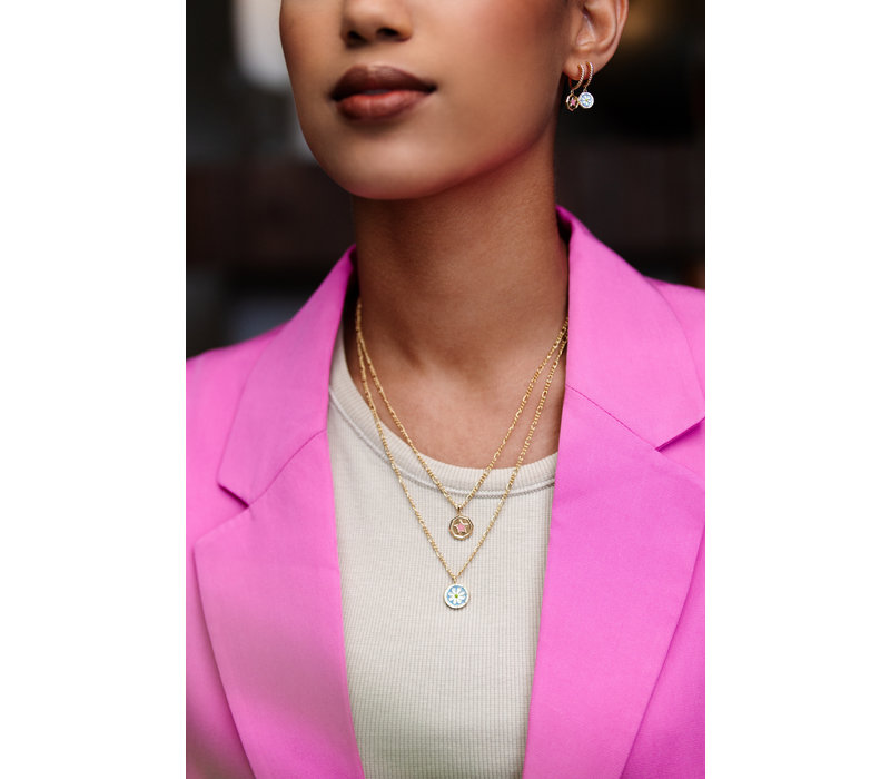 Vivid Goldplated Necklace Hexagon Star Lilac Pink