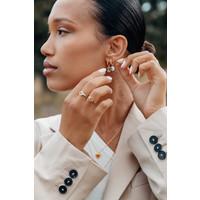 Vivid Goldplated Earring Coin Ying Yang Lilac