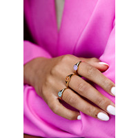 Vivid Goldplated Ring Signet Smiley Purple