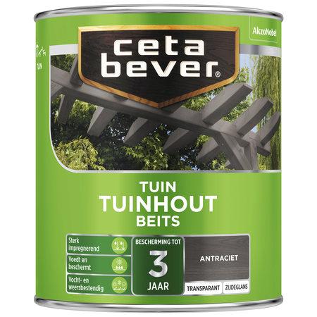 CetaBever Transparante tuinhout beits Antraciet Zijdeglans 2,5 liter