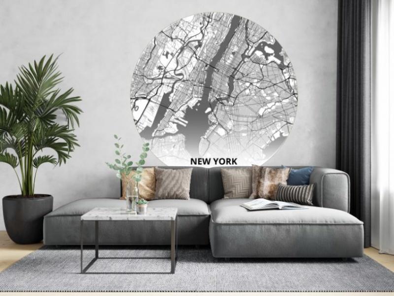 City Circles 145cm Plattegrond Van Steden Als Muurdecoratie Vliesbehang Beitz