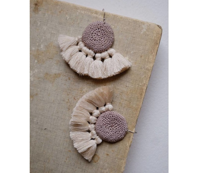 Hamimi Crochet Disc Tassel Earrings Mink & Beige