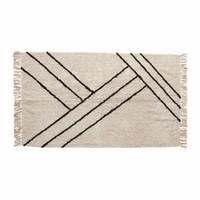 Hübsch Rug, cotton - white/black