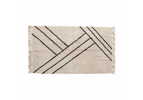 Hübsch Hübsch tapijt katoen  wit/zwart