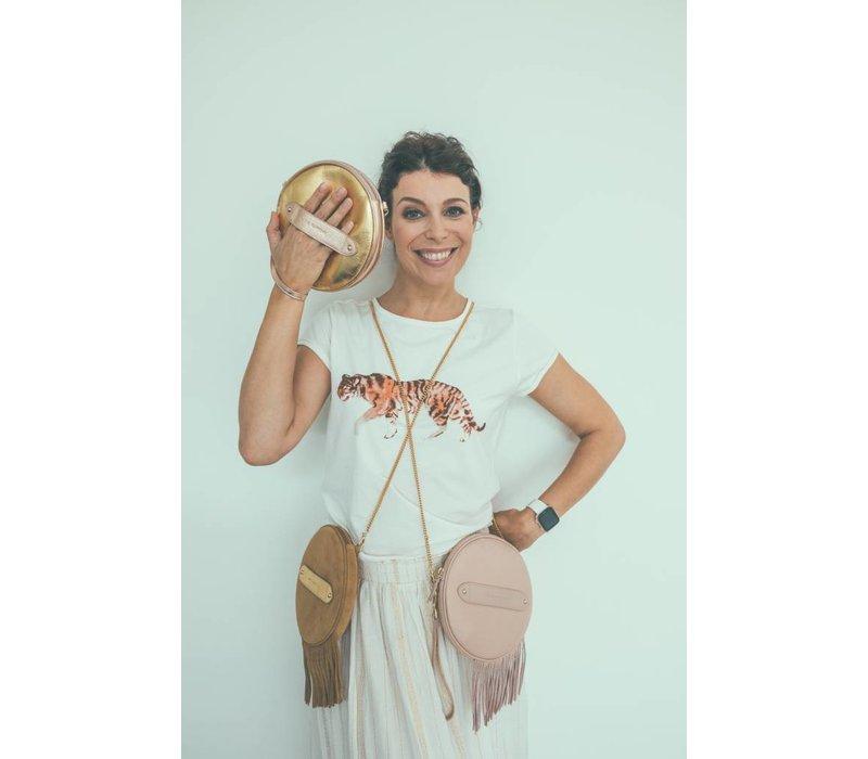 Marie Martens Havana Camel Fringes Disk Bag