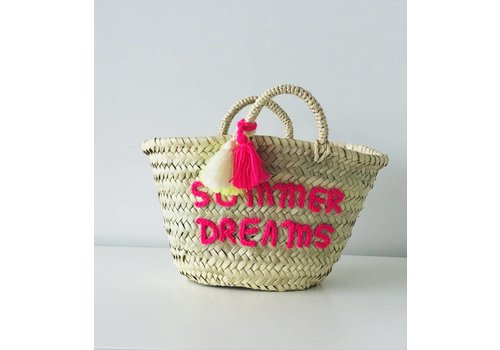 Maroc Handmade Wicker bag summer dreams fluo