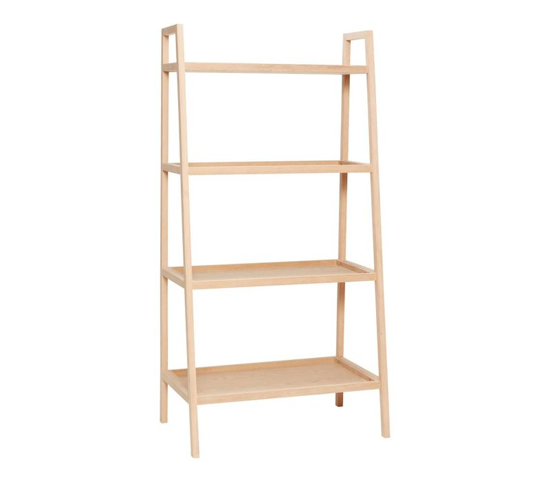 Hübsch shelving unit w/4 shelves, oak, nat