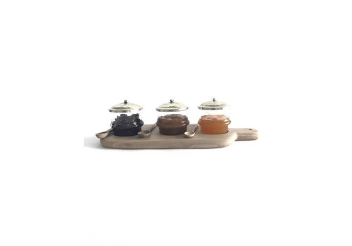 Maroc Handmade Serving board walnut with glass pots