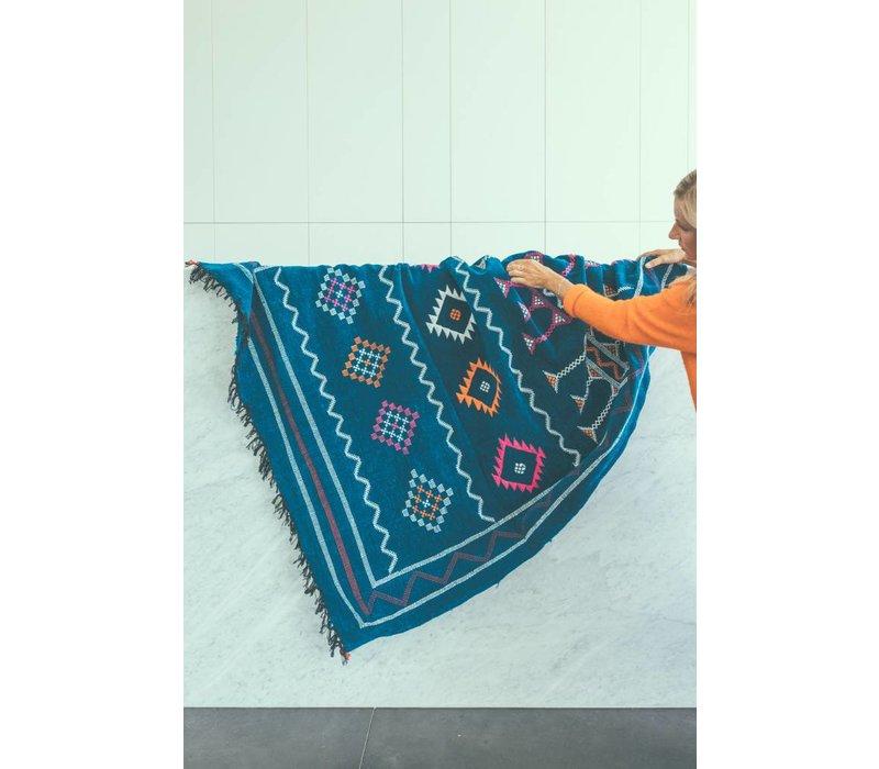 Tapijt kelim handmade blauw 242 x 135 cm