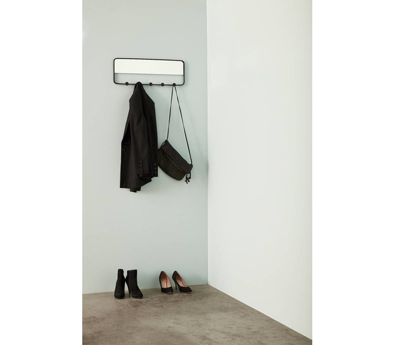 Coat rack w/mirrow, 5 hooks, metaal