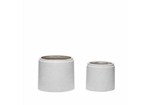 Hübsch Pot, ceramics, grijs, s/2