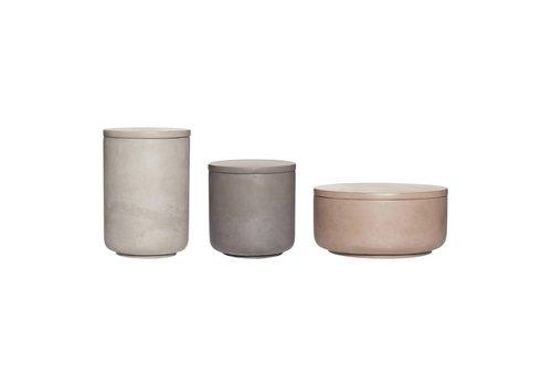 Hübsch Hübsch set opbergpotjes in keramiek beton grijs, bruin en donkergrijs