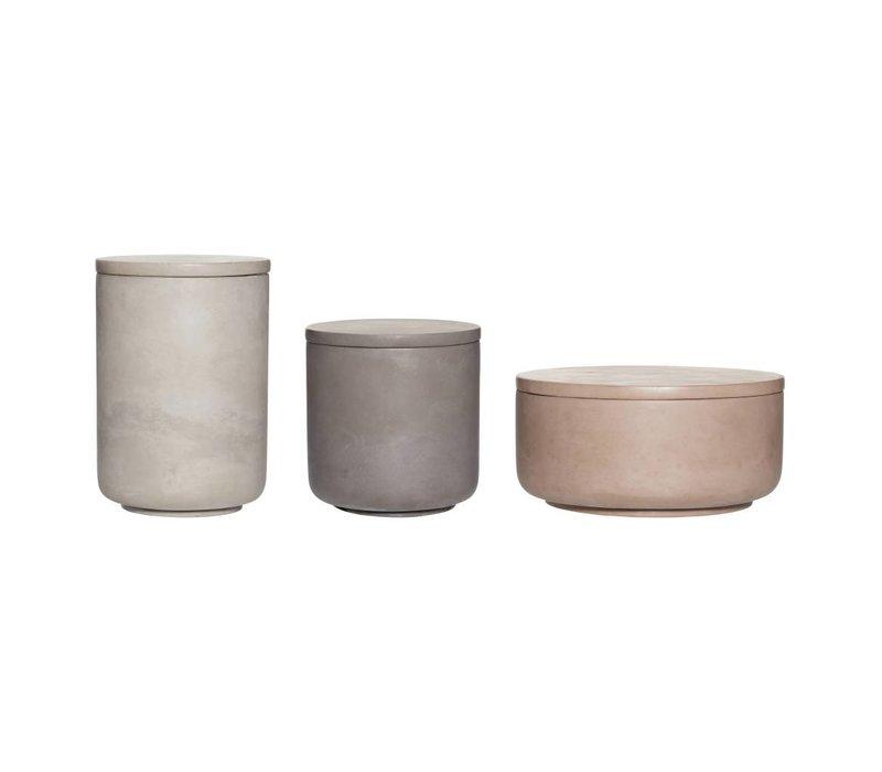 Set opbergpotjes in keramiek beton grijs, bruin en donkergrijs