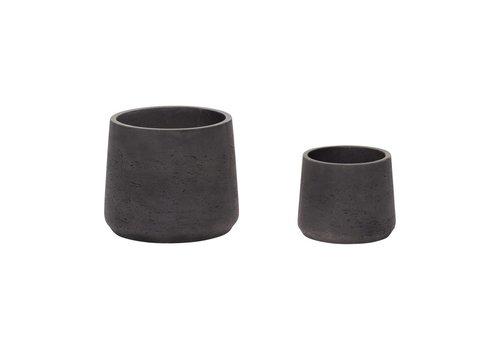 Hübsch Hübsch set potten in keramiek zwart s/2