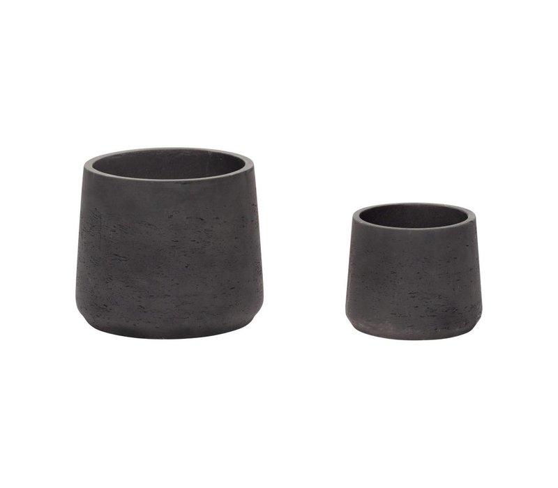 Hübsch set potten in keramiek zwart s/2