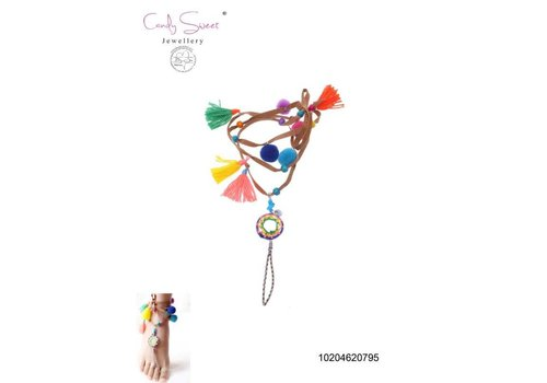 Necklace/ Voetjuweel Fringes multicolour Candy Sweet