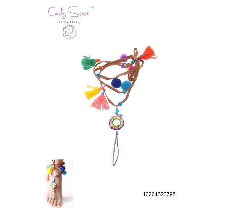 Necklace/ Voetjuweel Fringes multicolour Candy Sweet