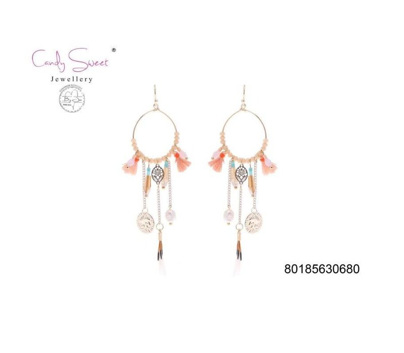 Earrings bangles boho Candy Sweet Coral