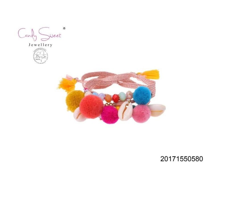 Bracelet Candy Sweet multicolour pompon