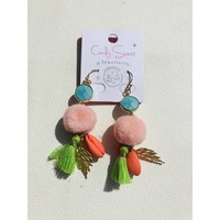 Earrings multicolour Pompon Candy Sweet