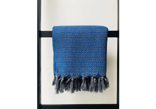 Beach & Bath towel zigzag indigo blue/grey