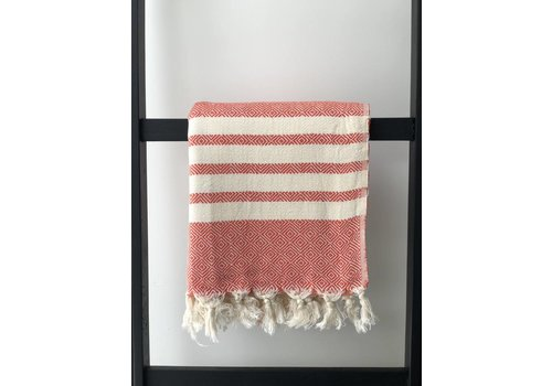 KnUS Beach & Bath towel small squares/white stripes orange