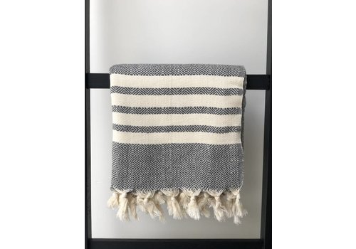 KnUS Beach & Bath towel small squares/white stripes grey
