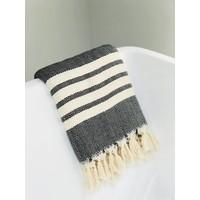 Beach & Bath towel small squares/ white stripes black