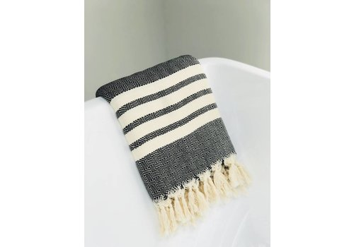 KnUS Beach & Bath towel small squares/ white stripes black