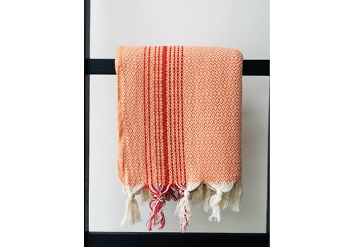 KnUS Beach & Bath towel Orange/Red Stripe