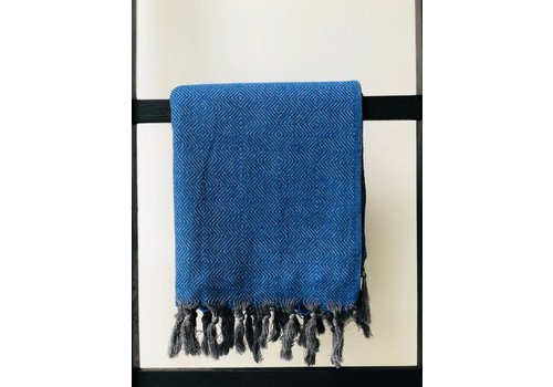 KnUS Beach & Bath towel small squares indigo blue/grey