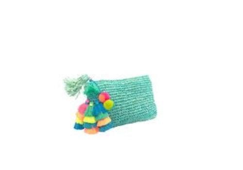 Moos Straw Bags The Straw Pom Pom Tassel Clutch Aqua