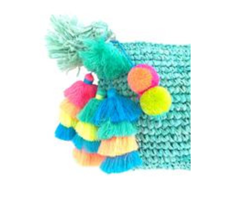 The Straw Pom Pom Tassel Clutch Aqua