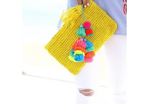 Moos Straw Bags The Straw Pom Pom Tassel Clutch yellow