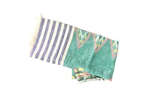 Moos Straw Bags Pom Pom Beach Towel in Sea Green