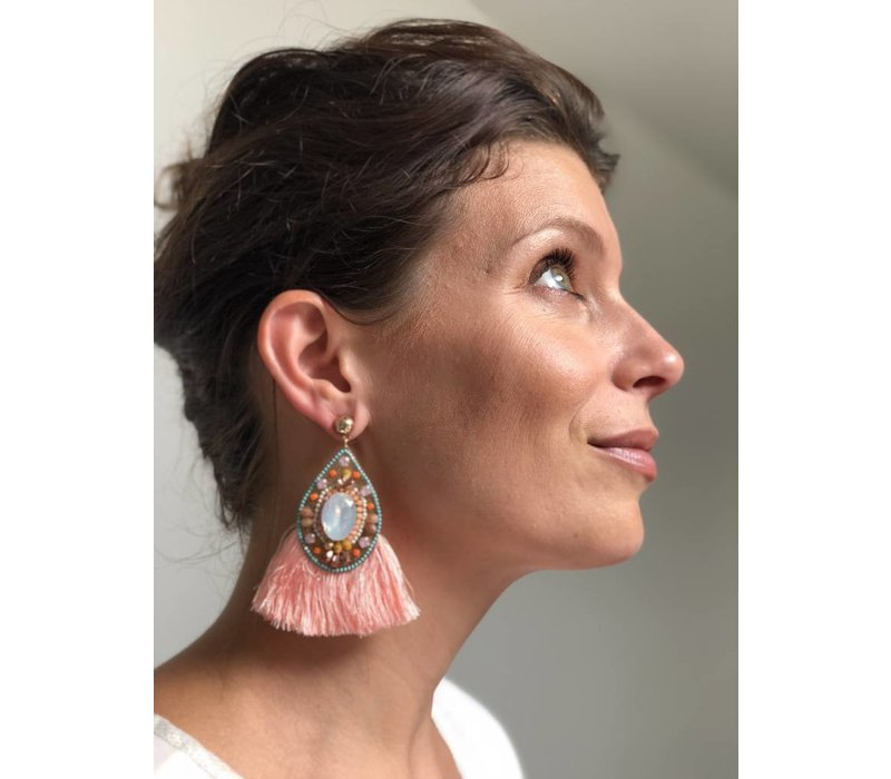Earrings Boho chic coral