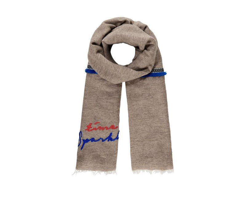 Pom Amsterdam sjaal Sparkle Taupe