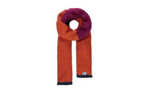 Pom Amsterdam Pom Amsterdam sjaal Knitted Colourblock oranje