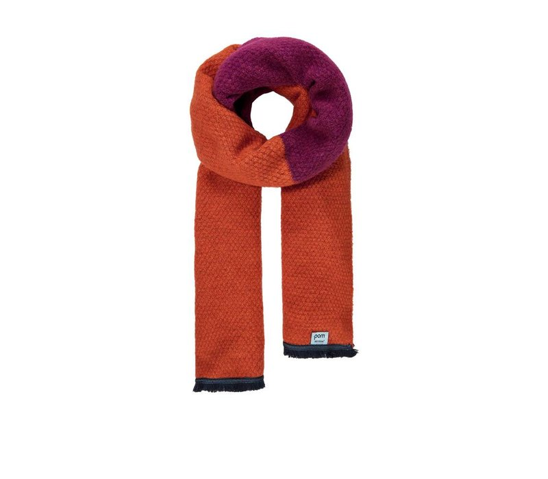 Pom Amsterdam sjaal Knitted Colourblock oranje