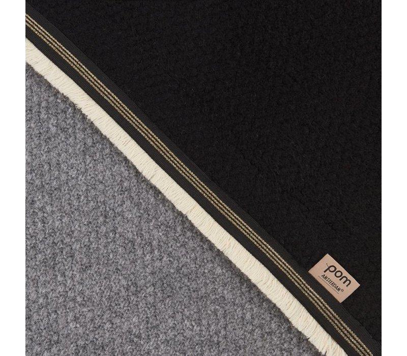 Pom Amsterdam Shawl Knitted Colourblock Black