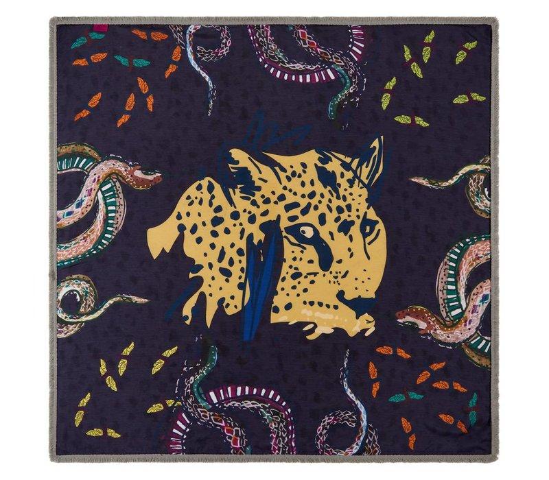 Pom Amsterdam Shawl Wild Leopard Burgundy