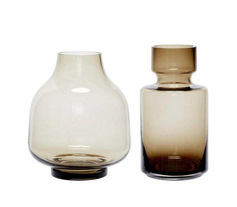 Hübsch set vazen in glas set/2