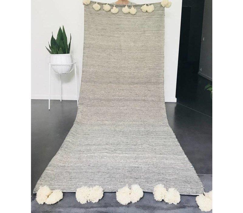 Blanket handmade fijne streep ecru/zwart