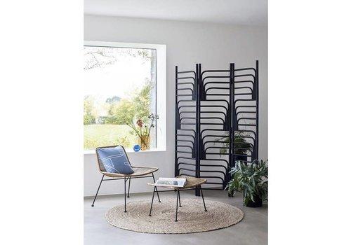 Hübsch Hübsch Lounge zetel  met bankje rotan natuur/metaal zwart
