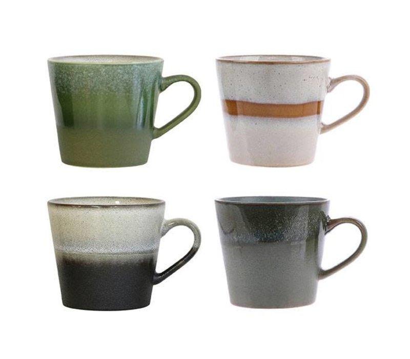 HK-Living Cappuccino keramieken tassen s/4