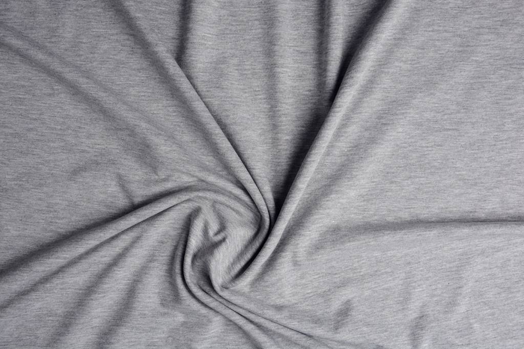 Oeko-Tex®  Jersey Stoff Baumwolle Hellgrau Meliert