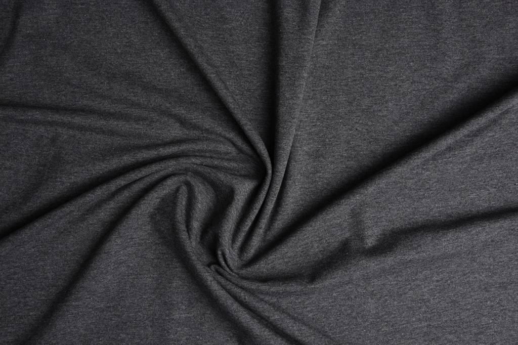 Oeko-Tex®  Jersey Stoff Baumwolle Dunkelgrau Meliert