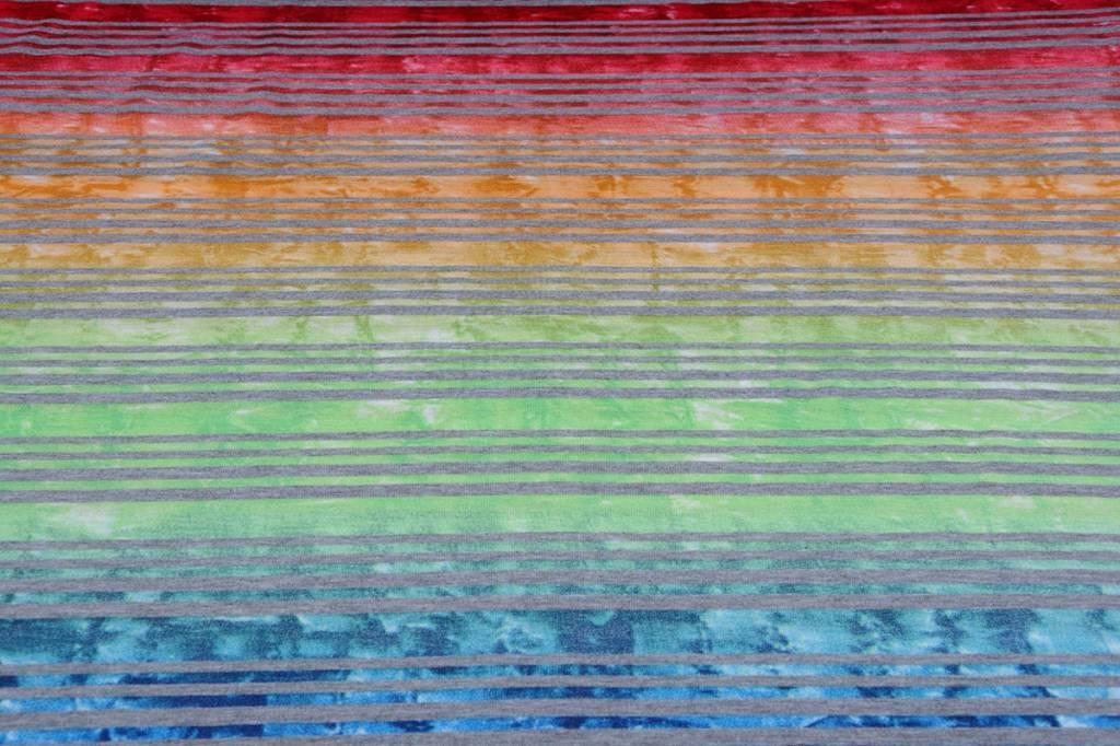 Jersey Viscose Kleine Streep Multicolor 1